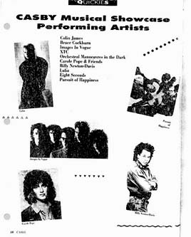 page from 1987 CASBY programme, taken from www.spititofradio.ca.  Photos (clockwise from upper left): Liba, Images In Vogue, Carole Pope, Billy Newton-Davis (from Cleveland!), The Pursuit of Happiness.