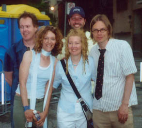 The TPOH lineup since 1996, backstage at Pride Toronto, 2003 (clockwise from left): Dave Gilby, Brad Barker, Moe Berg, Kris Abbott, Renee Suchy.  Photo by Rob Winder; click photo for source page.